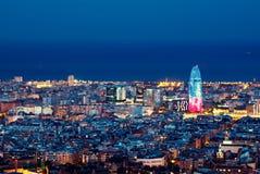 Barcelona skyline, Spain. Barcelona skyline, night city lights, Spain stock images