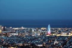 Barcelona skyline. Spain. Night city in neon lights royalty free stock image