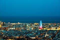 Barcelona skyline, Spain. Barcelona skyline at night time, Spain stock image