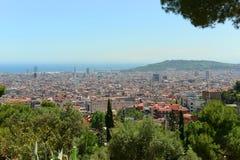 Barcelona skyline, Spain. Barcelona Old City skyline aerial view from Park Güell on Carmel Hill, Barcelona, Catalonia, Spain stock image
