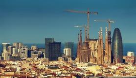 Barcelona skyline, Spain. Barcelona skyline in sunset time, Spain stock photo