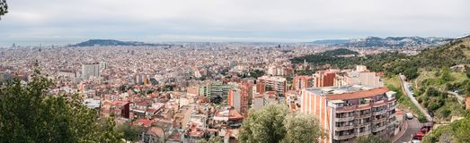Barcelona Skyline. Spain. Barcelona Skyline. Top View of Picturesque Barcelona Cityscape in Cloudy Day. Spain stock photos