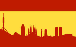 Barcelona skyline on spanish flag. Vectored illustration of city of spain and capital of catalonia barcelona, with most famous monuments and buildings as Stock Image