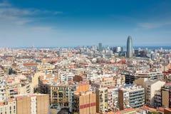 Barcelona skyline. On a spring day stock photo