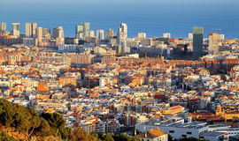 Barcelona skyline at sunset, Spain Stock Image