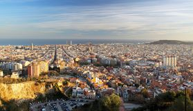 Barcelona skyline at sunset, Spain Royalty Free Stock Photo