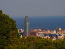 Barcelona Skyline at Sunset. View of Torre Agbar and the Barcelona skyline at sunset royalty free stock photography