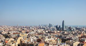 Barcelona skyline with Torre Glories royalty free stock photos