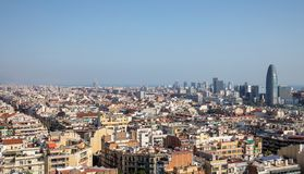 Barcelona skyline and Torre Glories. A view of the Barcelona skyline with Torre Glòries or Torre Agbar stock photos