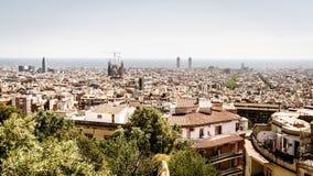 Barcelona skyline. View of Barcelona skyline and the Mediterranean coast royalty free stock photography