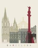 Barcelona-Skylineplakat stock abbildung