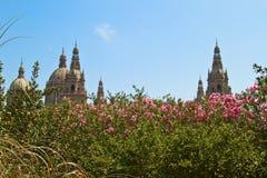 Barcelona slott, blom, landskap, himmel Arkivbild