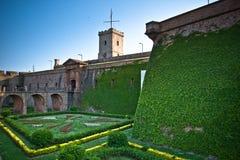 barcelona slott montjuic spain Arkivfoto