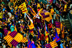 Barcelona Soccer Fans. Crowds of football fans waiting for a match, barcelona , barca Stock Images