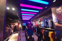 Barcelona soccer official store Stock Photos