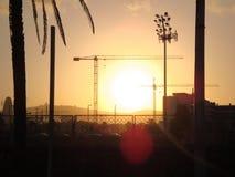 barcelona solnedgång Arkivbilder