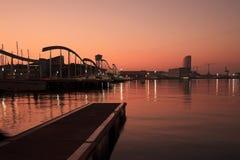 Barcelona soluppgång Arkivfoto