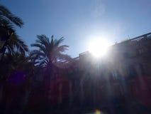 Barcelona soluppgång royaltyfri bild
