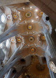 Barcelona, Spain – 24 September 2016: Sagrada Familia interior rooftop pillars. Stock Photos