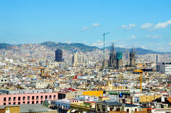 Barcelona, Spain. Aerial view of Barcelona and its skyline, Spain royalty free stock image
