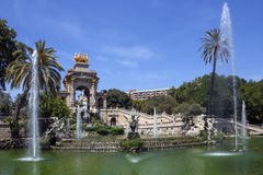 Barcelona - Spain. Ornamental fountains in the Parc de la Ciutadella in the Old Town district of Barcelona in the Catalonia region of Spain stock images