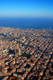 Barcelona, Spain. Aerial view of Barcelona, Spain, with Sagrada Familia in foreground royalty free stock photo
