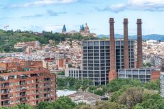 Barcelona, Spain. Aerial city view with Catalan Art Museum in ba stock photography