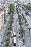 Barcelona, Spain. Aerial view of Passeig de Colom royalty free stock image