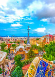 In Barcelona in Spain. Aerial view to the town from the famous park Guell at Barcelona in Spain. HDR processed Stock Photos