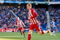 Fernando Torres plays at the La Liga match between RCD Espanyol and Atletico de Madrid Royalty Free Stock Photo