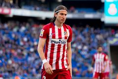 Filipe Luis plays at the La Liga match between RCD Espanyol and Atletico de Madrid. BARCELONA, SPAIN - APR 9: Filipe Luis plays at the La Liga match between RCD stock images