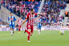 Juanfran plays at the La Liga match between RCD Espanyol and Atletico de Madrid Royalty Free Stock Image