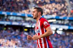Koke Resurreccion plays at the La Liga match between RCD Espanyol and Atletico de Madrid Stock Photos