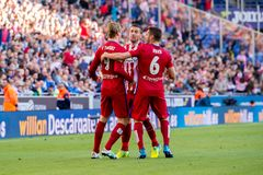 Torres, Gabi and Koke plays at the La Liga match between RCD Espanyol and Atletico de Madrid Royalty Free Stock Images