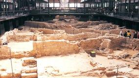 BARCELONA, SPAIN - APRIL, 15, 2017. Archaeological ruins, remnants of an ancient city. El Born cultural centre. 4K