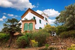 Barcelona, Spain - April 19, 2016: Casa Trias e Domenech in Park Guell, designed by Antoni Gaudi. Barcelona, Spain - April 19, 2016: Building Casa Trias e Royalty Free Stock Photography