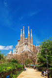 Barcelona, Spain - April 18, 2016: Cathedral of La Sagrada Familia. It is designed by architect Antonio Gaudi and is being build since 1882 royalty free stock photos