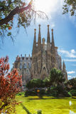 Barcelona, Spain - April 18, 2016: Cathedral of La Sagrada Familia. It is designed by architect Antonio Gaudi and is being build since 1882 stock image
