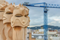 BARCELONA, SPAIN - APRIL 28:  Chimney on the roof terrace of Gaudi Casa Mila or La Pedrera on April 28, 2016 in Barcelona, Spain Royalty Free Stock Image