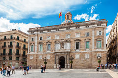 Barcelona, Spain - April 17, 2016: City Hall on Placa de Sant Jaume. The Palau Palace Generalitat Stock Images