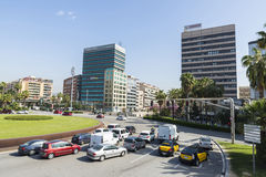 Barcelona. Spain - April 11, 2014: Entrance to the city from Gran Via where it has built a new district office buildings in , Spain on April 11, 2014 stock photo