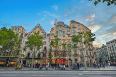 BARCELONA, SPAIN - APRIL 28: Exterior of the Gaudi Casa Batllo on April 28, 2016 in Barcelona, Spain Stock Photography