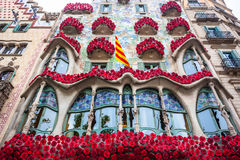 Barcelona, Spain - 24 April 2016: Exterior View of Casa Batllo in Barcelona. Royalty Free Stock Image