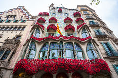 Barcelona, Spain - 24 April 2016: Exterior View of Casa Batllo in Barcelona. Stock Image