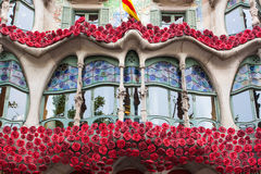 Barcelona, Spain - 24 April 2016: Exterior View of Casa Batllo in Barcelona. Royalty Free Stock Images