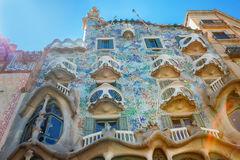 Barcelona, Spain - 17 April, 2016: The facade Casa Battlo or house of bones designed by Antoni Gaudi Stock Image