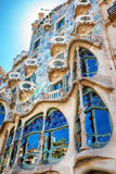 Barcelona, Spain - 17 April, 2016: The facade Casa Battlo or house of bones designed by Antoni Gaudi Royalty Free Stock Image