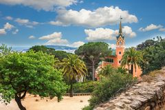Barcelona, Spain - April 19, 2016: Famous Park Guell in Barcelona, Spain. The Gaudi House Museum. Royalty Free Stock Photo