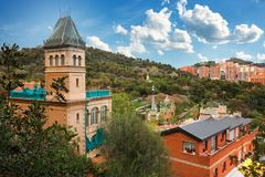 Barcelona, Spain - April 19, 2016: Famous Park Guell in Barcelona, Spain. The Gaudi House Museum. Barcelona, Spain - April 19, 2016: Famous Park Guell in Royalty Free Stock Photo