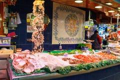 Barcelona, Spain - 20 April, 2016: fresh raw shrimps on seafood display on ice on fishermen market store shop. Barcelona, Spain - 20 April, 2016: fresh raw king Royalty Free Stock Photo